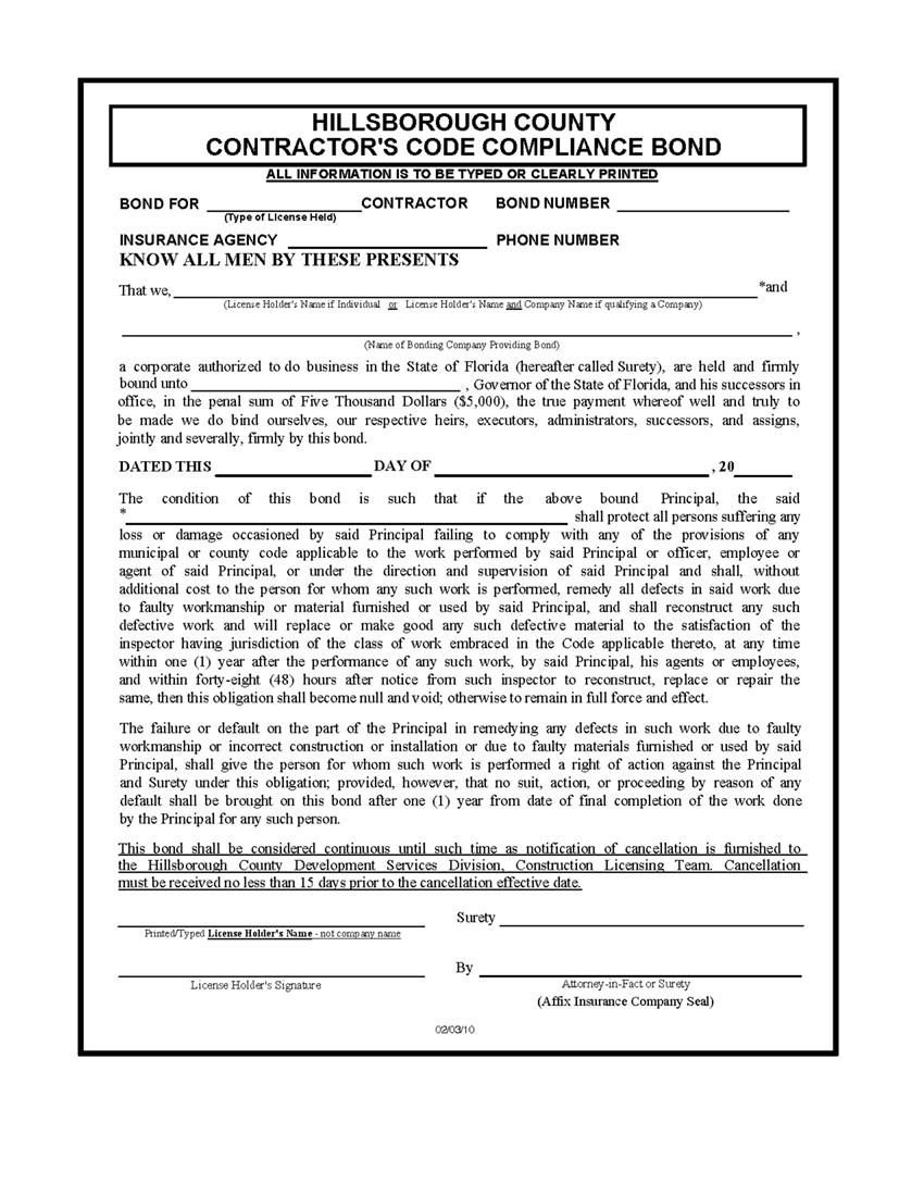 The Florida Hillsborough County Contractor Code Compliance Surety