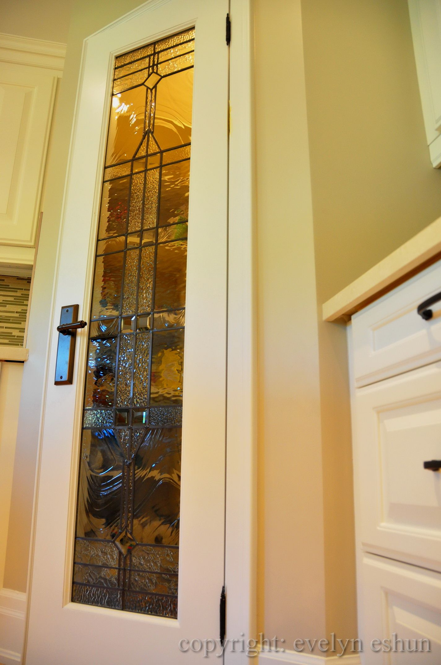 Custom Door With Art Glass Insert Or Leads To A Tiny Pantry
