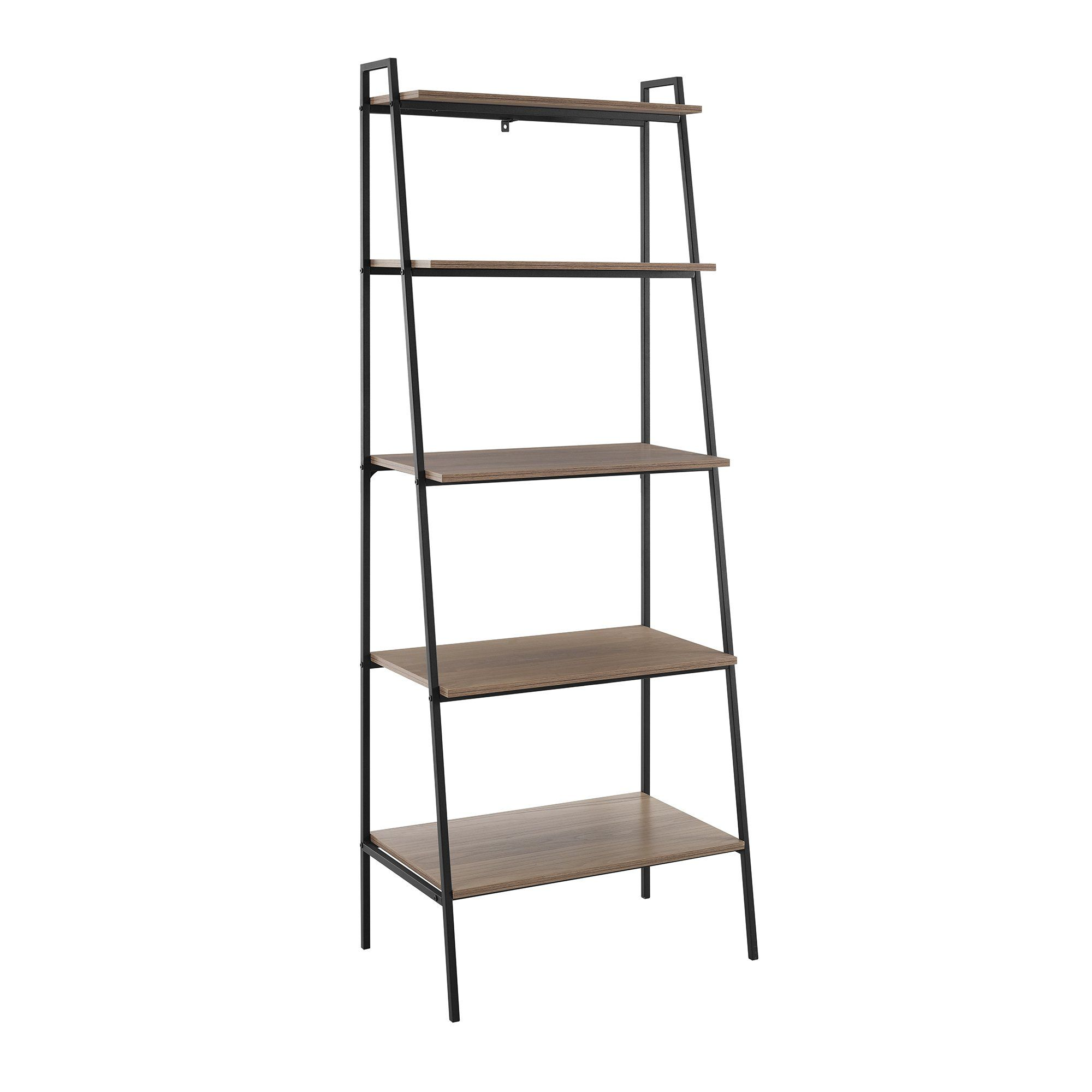 Industrial 72 Inch Ladder Bookcase Arlo Modern Shelving Wood