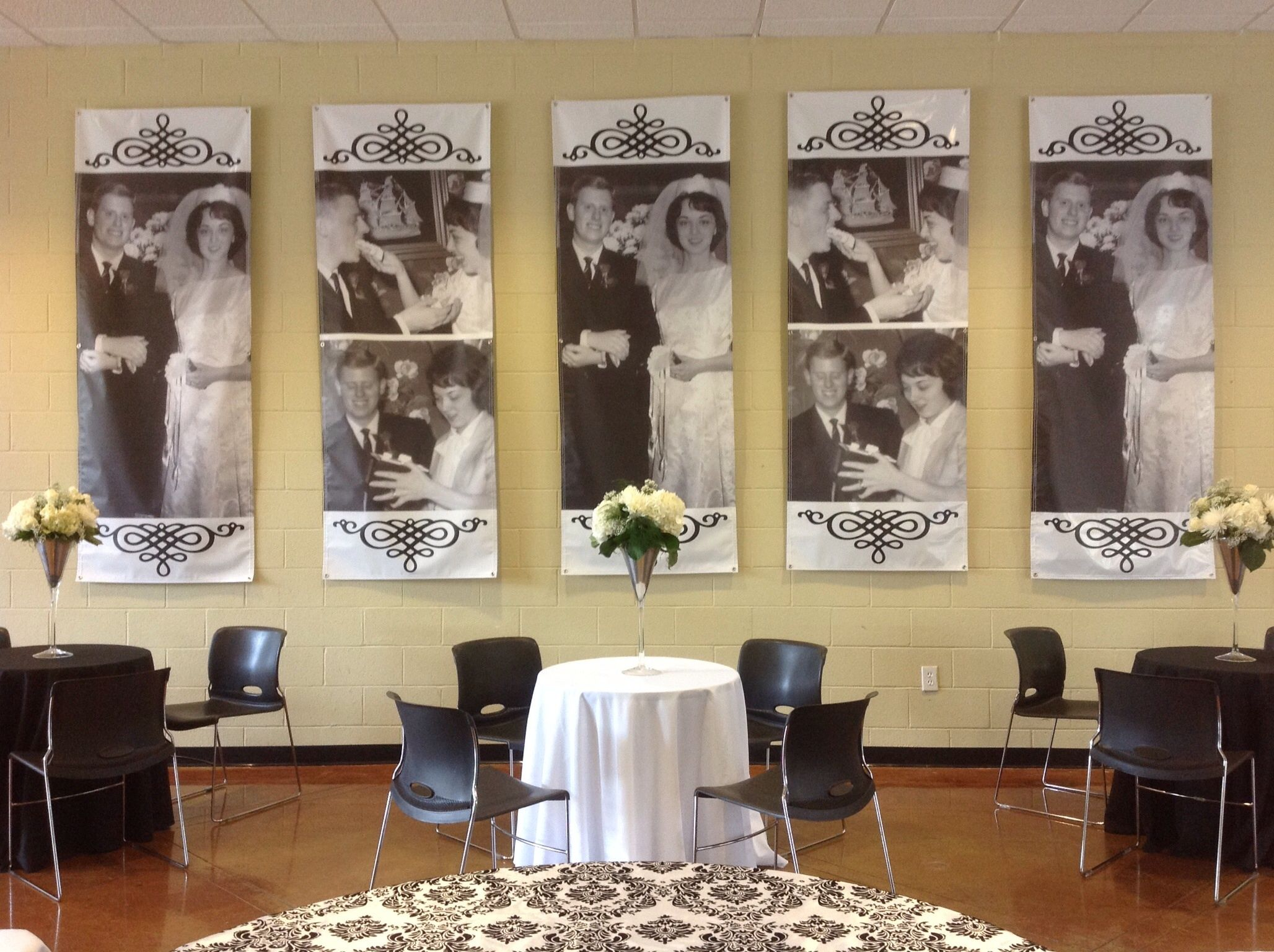 50th Anniversary Party Photo Banners Wedding Vintage Pictures
