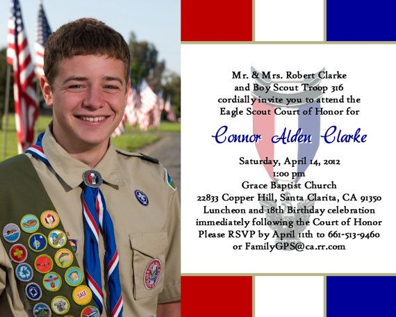 Eagle Scout Court Of Honor Invitations Prepared 2 White Design