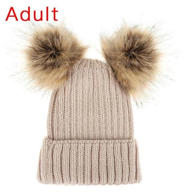 Kids Child Baby Boys Girls Beanie Hat Cap Winter Warm Double Fur Pom Bobble Knit