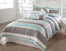Bachelor 7pc Comforter Set Light Blue Gray Beige King Cal King Size Bed Cover Blue Comforter Sets Grey And Teal Bedding Comforter Sets