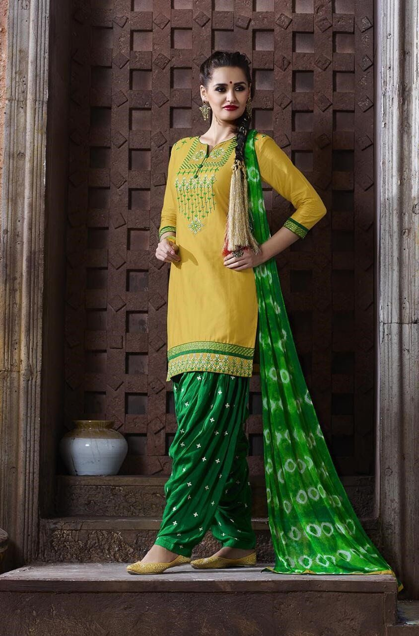 3bb3726e2c1 New Designer Yellow And Green Color Partywear Salwar Suit for Women ...