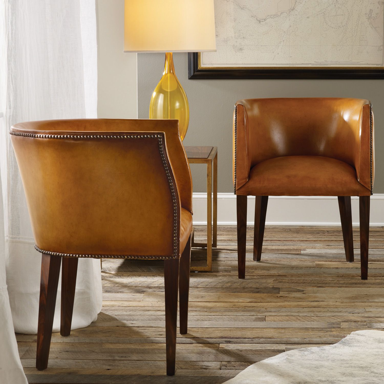 Beau Modern History Home Continental Leather Barrel Chair @Layla Grayce
