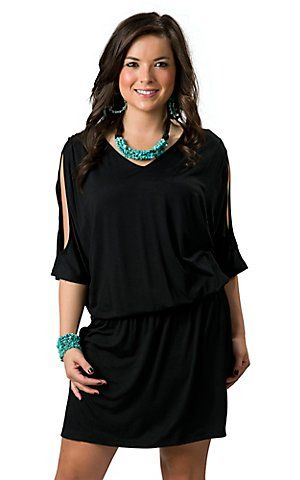 Cowgirl Justice Women S Black Cold Shoulder 3 4 Sleeve Jersey Knit Dress Cowgirl Dresses Fashion Lil Black Dress