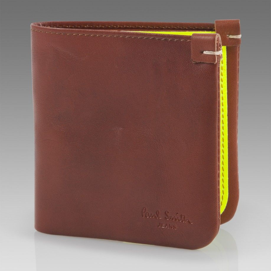 Paul Smith Wallets | Tan Wallet with Fluorescent Yellow Interior