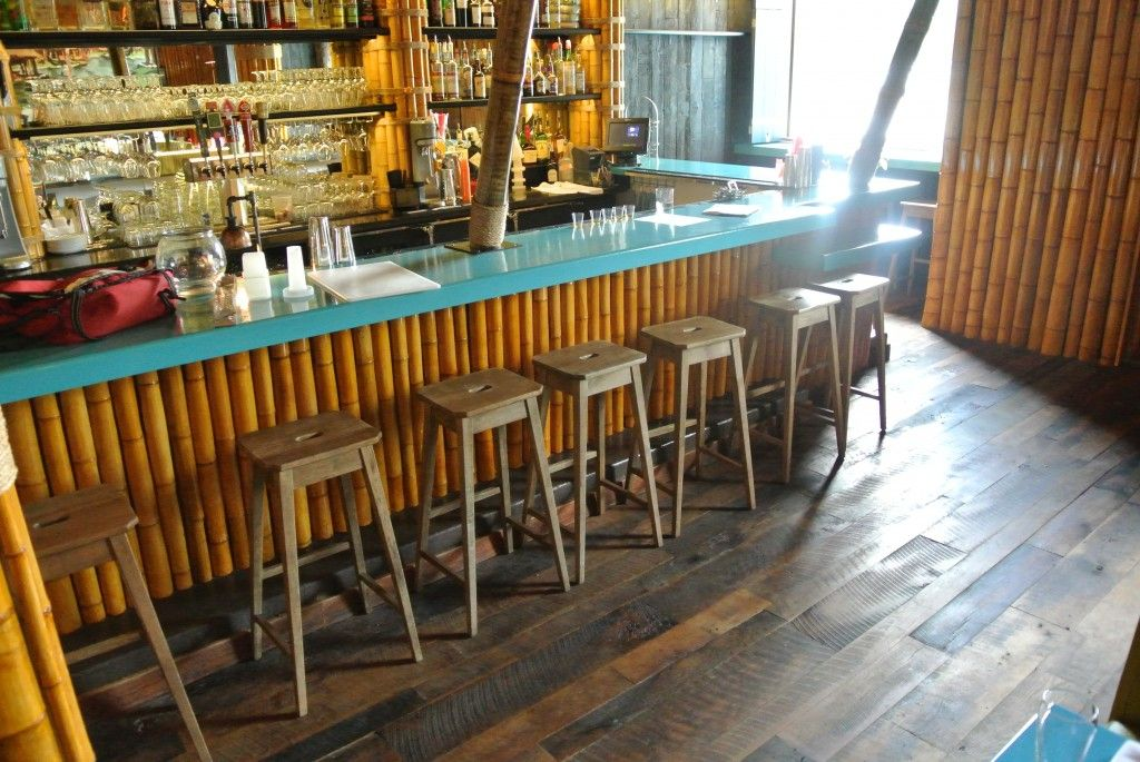 Reclaimed wood tiki bar google search tiki bars for Commercial bar flooring