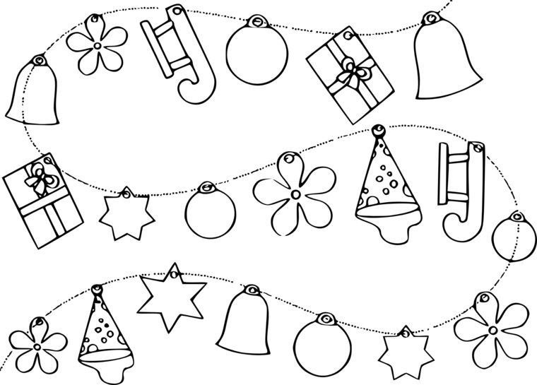Disegni Di Natale Ghirlande.Disegni Di Natale Da Colorare Ghirlanda Con Ornamenti