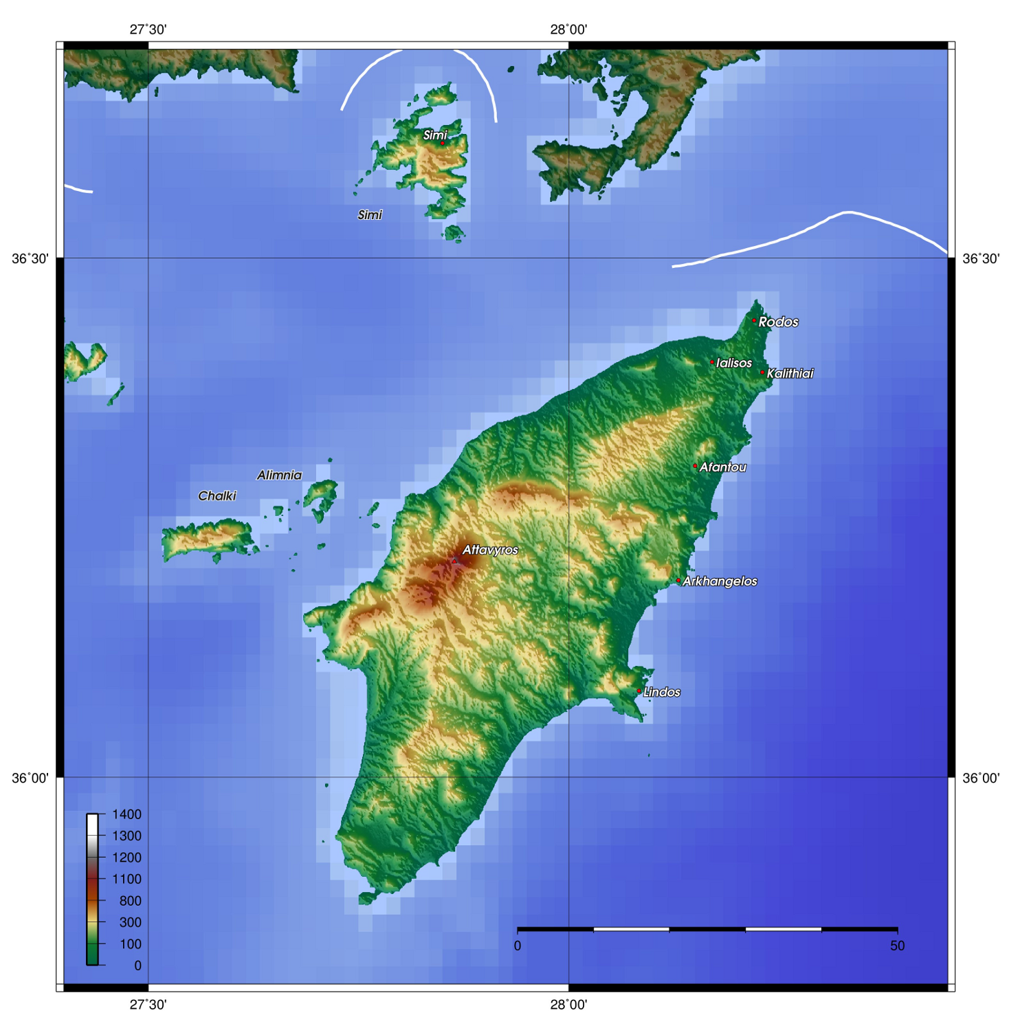 Topographic map of Rhodes Dodecanese Islands Greece  ISLANDS