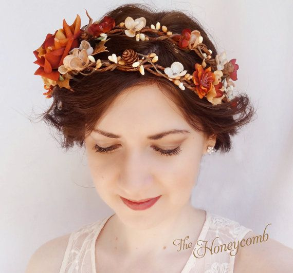 Fall Wedding Hairstyles With Flower Crown: Fall Wedding Headpiece Rustic Flower Crown Autumn By