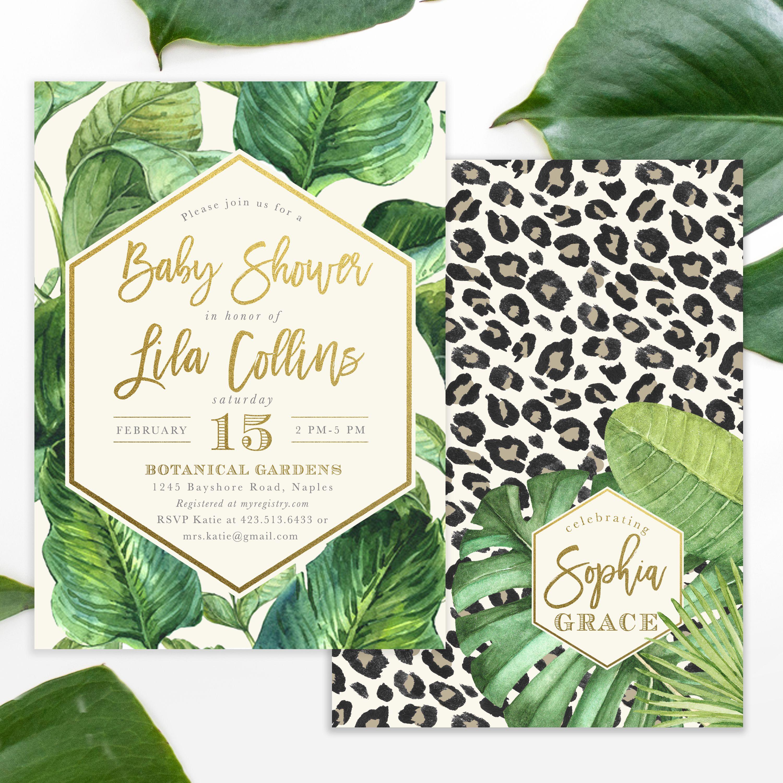 Lila: Safari Jungle Glam Baby Shower Invitation, Leopard Print ...