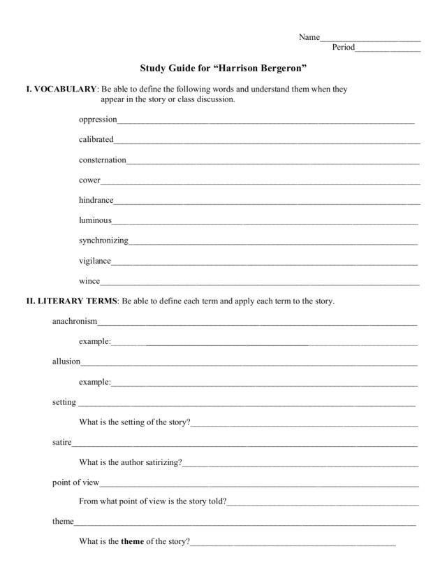 Study Guide Harrison Bergeron Worksheet For 6th 9th Grade