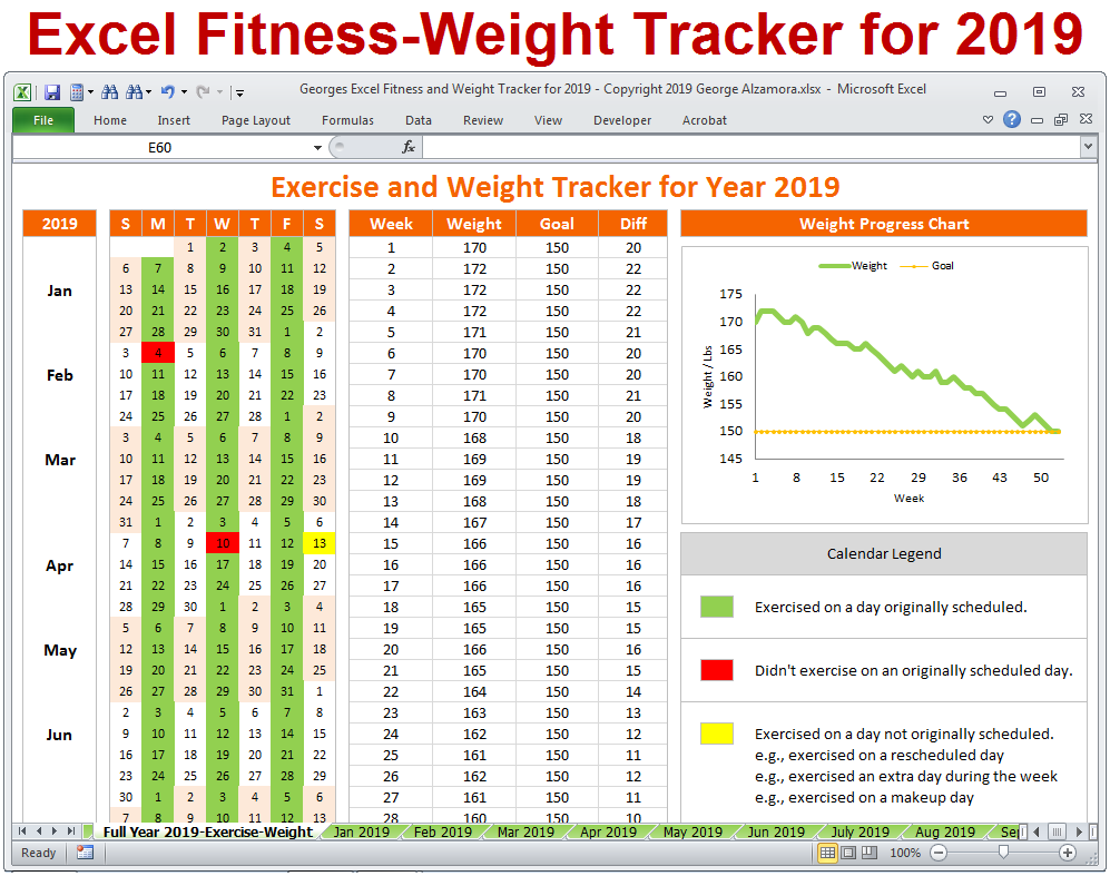 Pin On 2019 Fitness Planner Workout Weight Tracker For Calendar Year 2019 Excel Templates