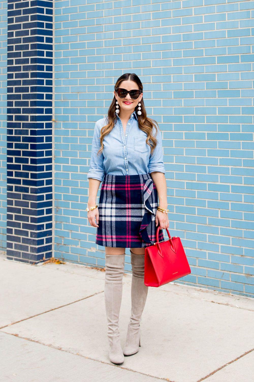 Endeavor flannel shirt  Navy Plaid Wool Ruffle Mini Skirt and Chambray Shirt  Mini skirts