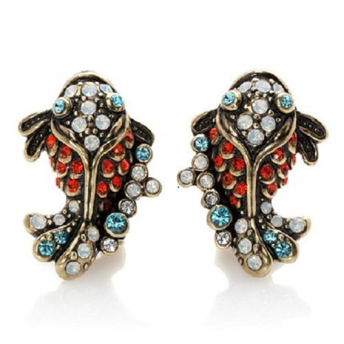 NEW-HEIDI-DAUS-Adorable-KOI-FISH-CRITTER-Crystal-CLIP-Earrings-NIB