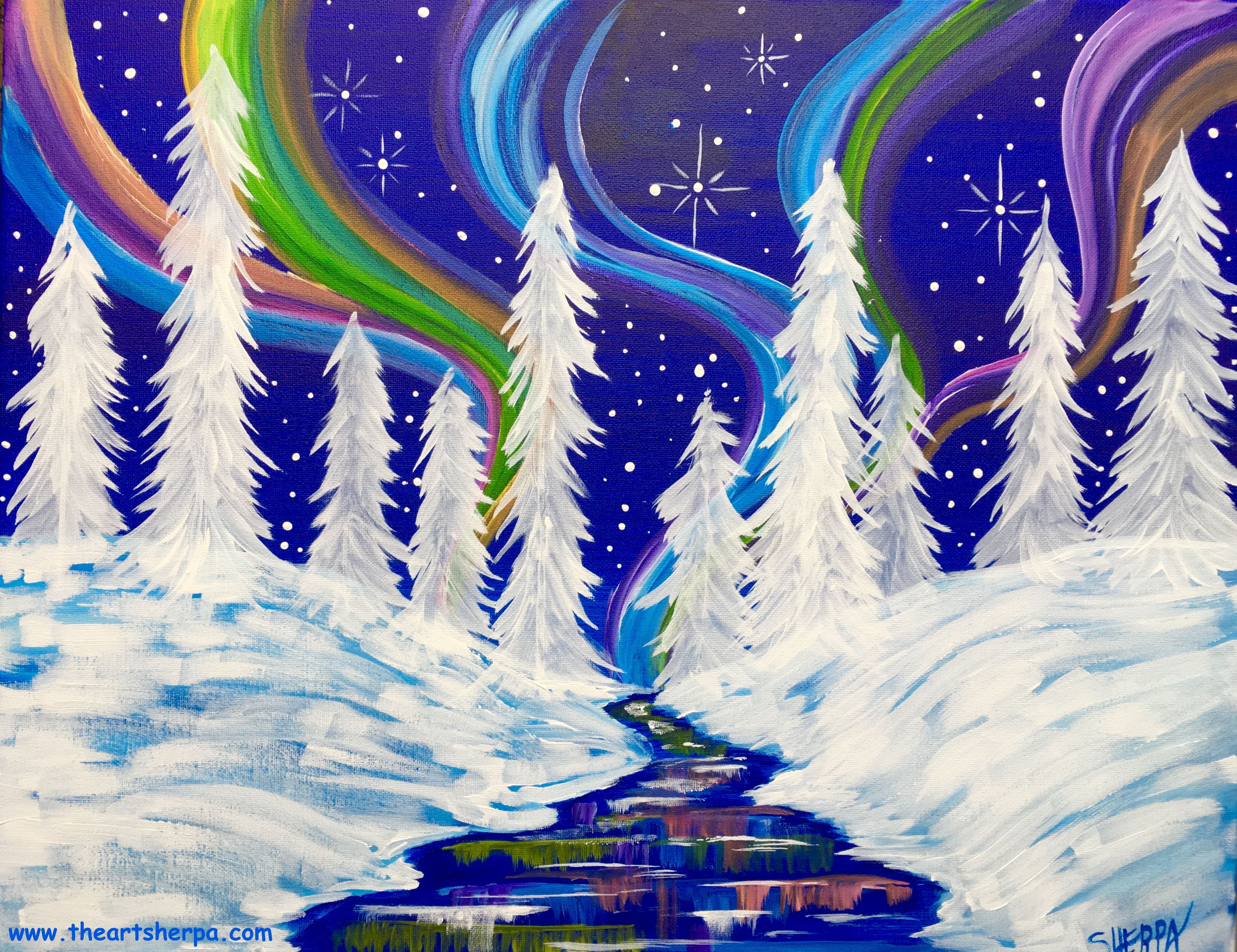 Aurora Borealis Winter Wonderland Landscape Easy Canvas Painting Tutorial on Youtube BY The Art Sherpa. Oct 29th 2017