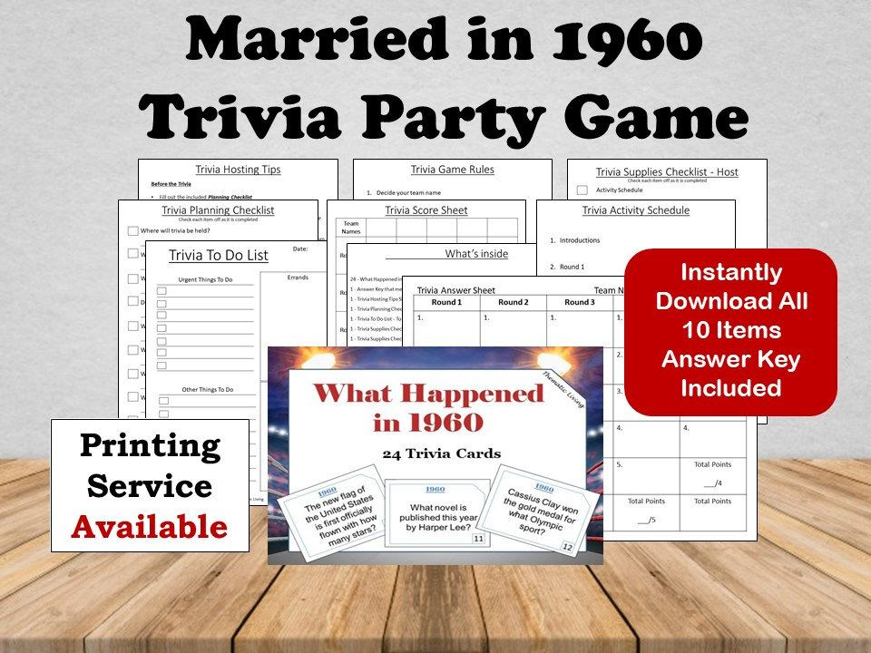 60th Wedding Anniversary Party Game 1960 Anniversary Gift Married In 1960 Wedding Anniversary Party Games Wedding Anniversary Party Anniversary Party Games