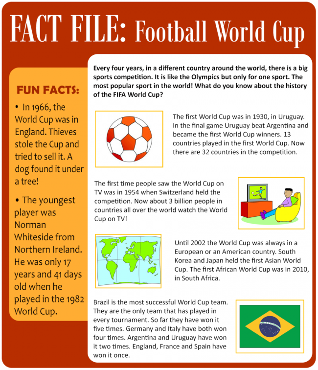 Football World Cup World Cup Activity World Reading Practice