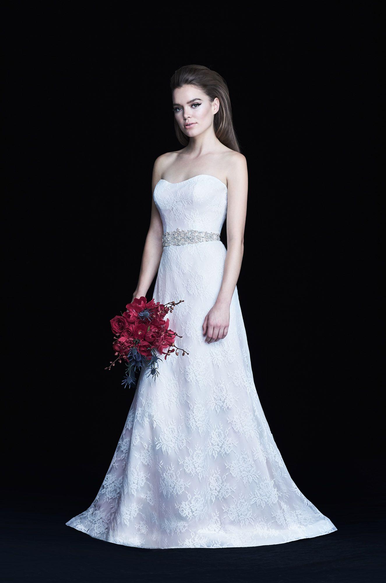 Lace train wedding dress style chantilly lace paloma