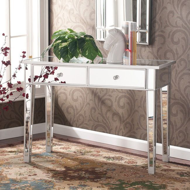 Hollywood Regency Mirrored Console Table Vanity Desk Mirror Glam 2 Drawers    Premier Home Decor
