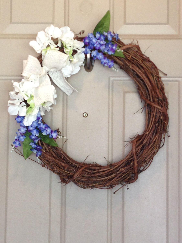 Hydrangea - Bluebonnet - Burlap Wreath - Spring Wreath by TinkeringTaylor on Etsy https://www.etsy.com/listing/233083240/hydrangea-bluebonnet-burlap-wreath