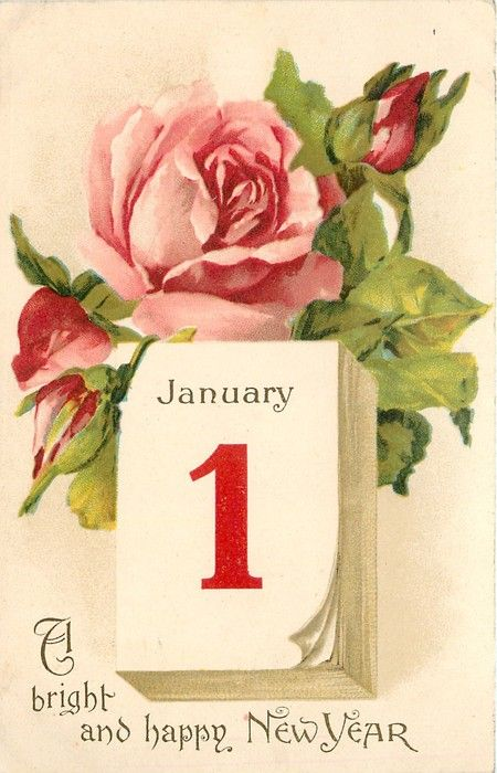 A Bright And Happy New Year Pink Rose Open And Two Buds Above Calendar With January 1 I Vintage Happy New Year Vintage Christmas Cards Vintage Greeting Cards