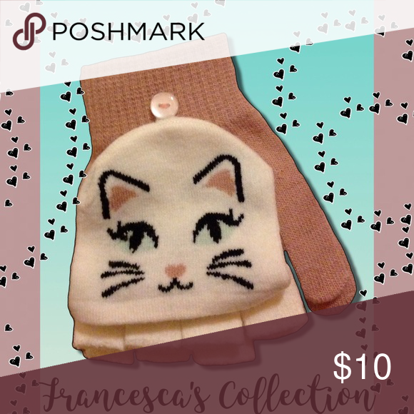 🆕Francesca's Collections Cat Fingerless/Mittens Rose Pink & Off White Fingerless Gloves that converts to Mittens.. Francesca's Collections Accessories Gloves & Mittens