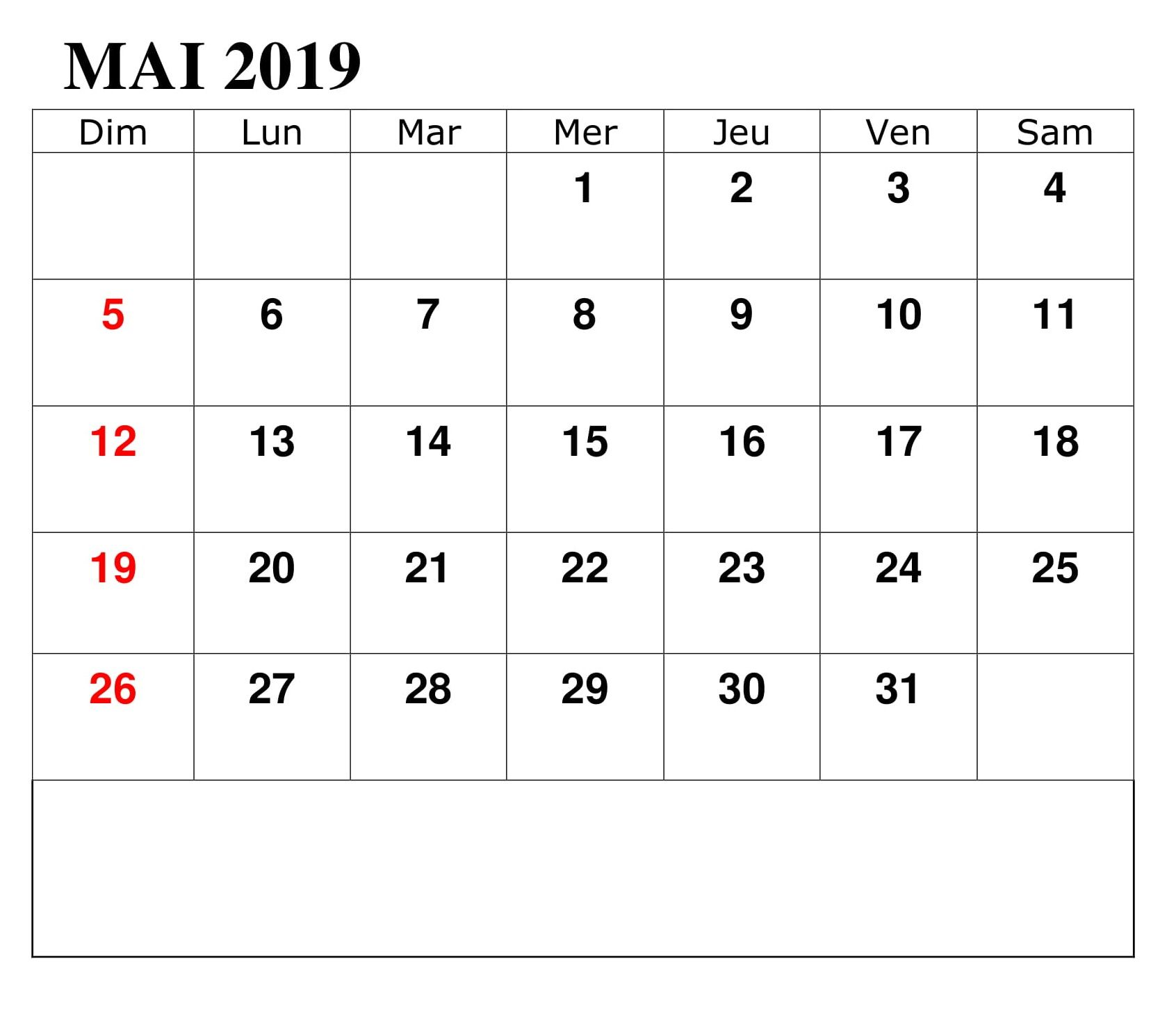 Calendrier Mai Excel 2019 Monthly Calendar Template May