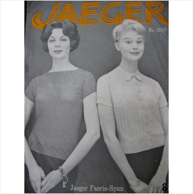 Vintage Jaeger Knitting Pattern 3579 Ladies Sweater Ladies Vintage