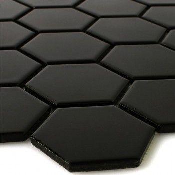 Mosaique Ceramique Hexagone Noir Mat Carrelage Mosaique Carreaux Mosaique Noir Mat