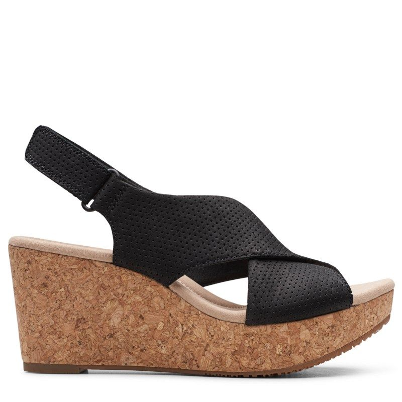 Clarks Women's Annadel Parker Medium/Wide Wedge Sandals (Black Nubuck)