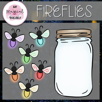 COLORFUL FIREFLIES CLIP ART