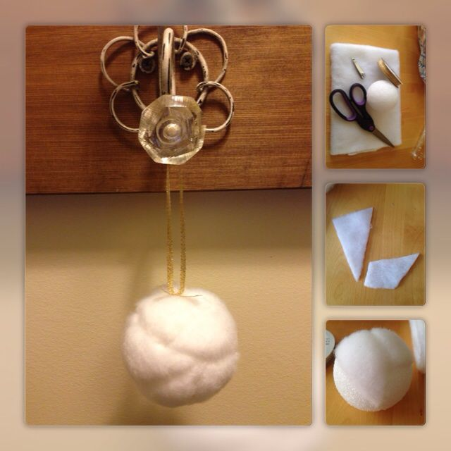 DIY Christmas Ornaments. Faux Fur, Snowball - Styrofoam ball - Faux fur/fleece (short) or any other type of cotton fabric - Ribbon - Nail file - glue gun and /or push pin to secure ribbon for hanging Cut fabric into different shapes like pieces for a quilt. Using the tip of nail file begin pushing edges of fabric into ball until all edges are tucked in. Continue adding fabric pieces until ball is covered. Add ribbon for hanging. Done!