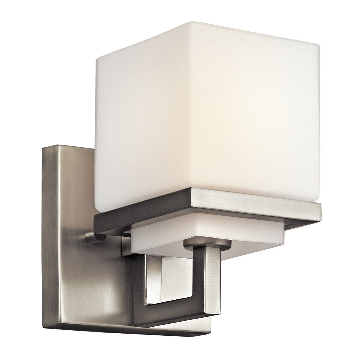 Kichler 6162ni Structures 2 Light Bath Wall Mount In Brushed Nickel: Kichler Light Fixtures Bathroom