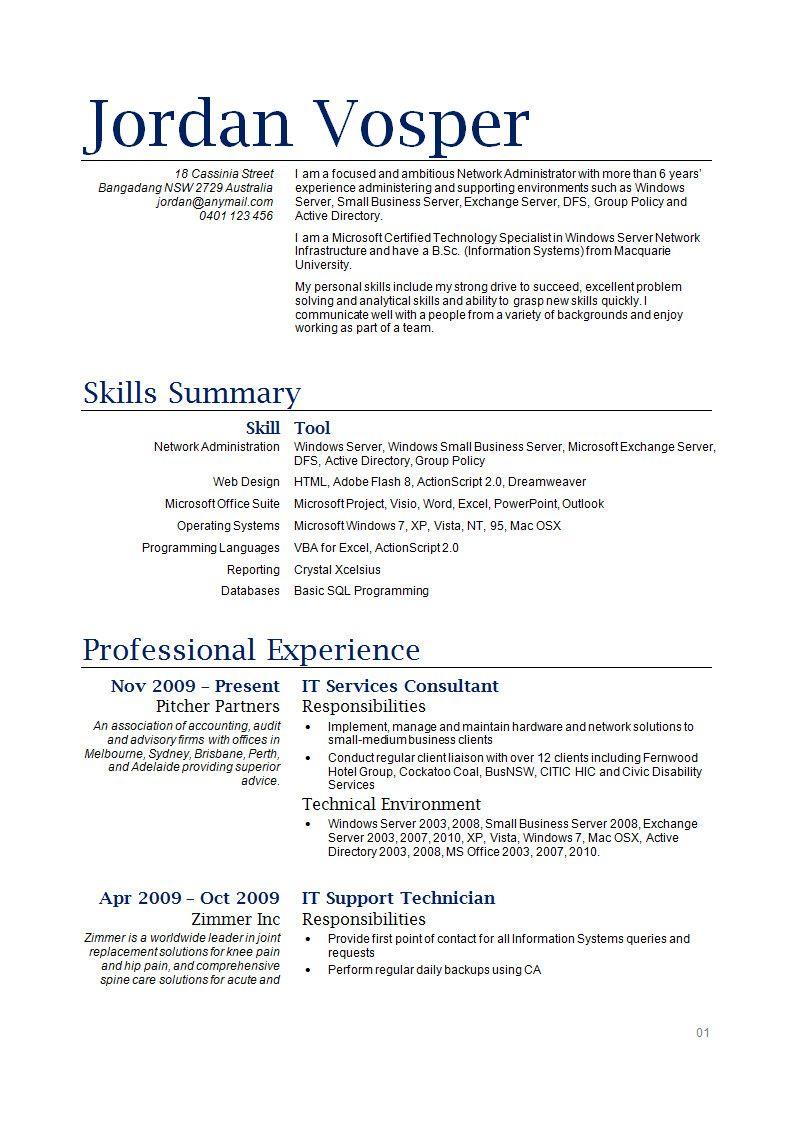 34++ Resume template examples australia Format