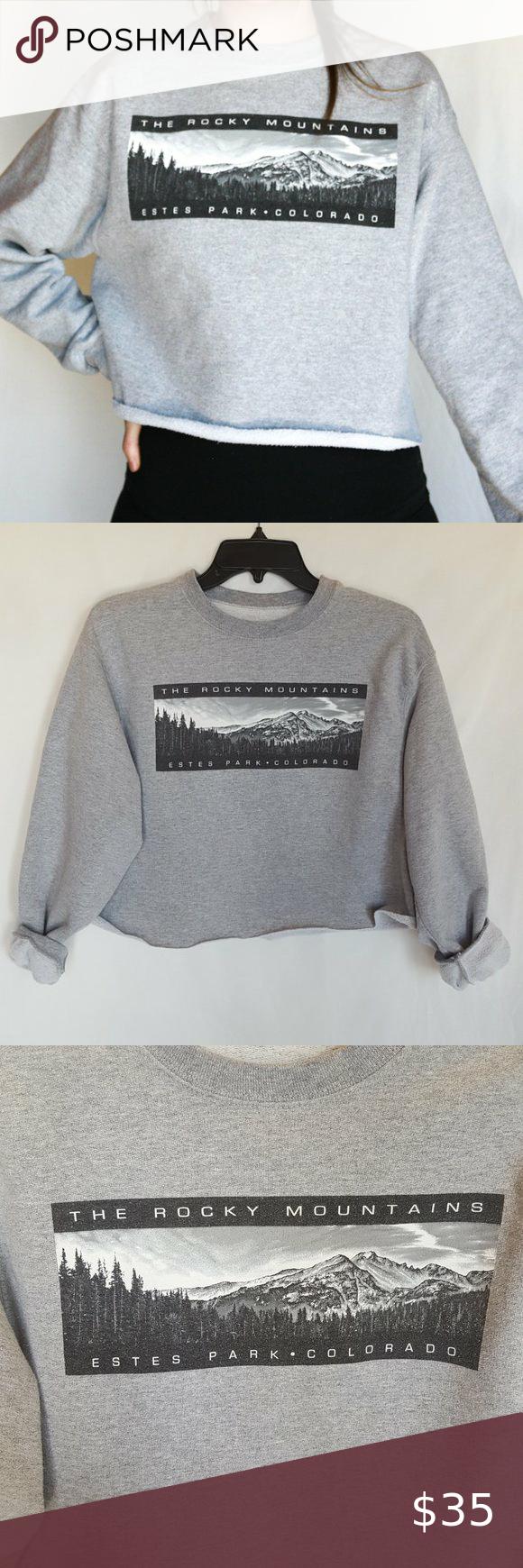 Rocky Mountain Cropped Sweatshirt Crop Sweatshirt Sweatshirts Cropped Crewneck [ 1740 x 580 Pixel ]