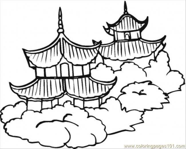 Chinese Coloring Pages Coloring Pages Pagodas Countries China
