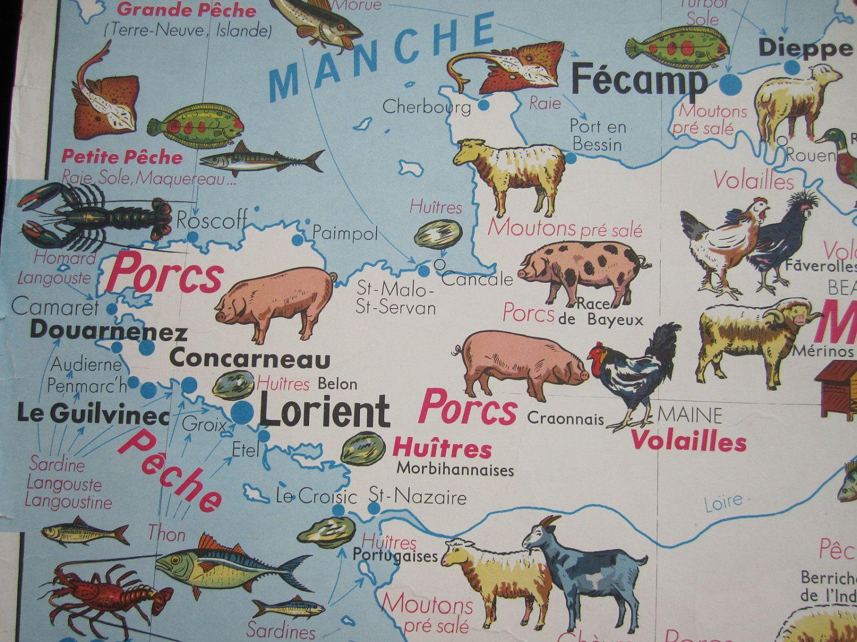 French Vintage School Poster France Map Restaurant Food Chef Kitchen ...