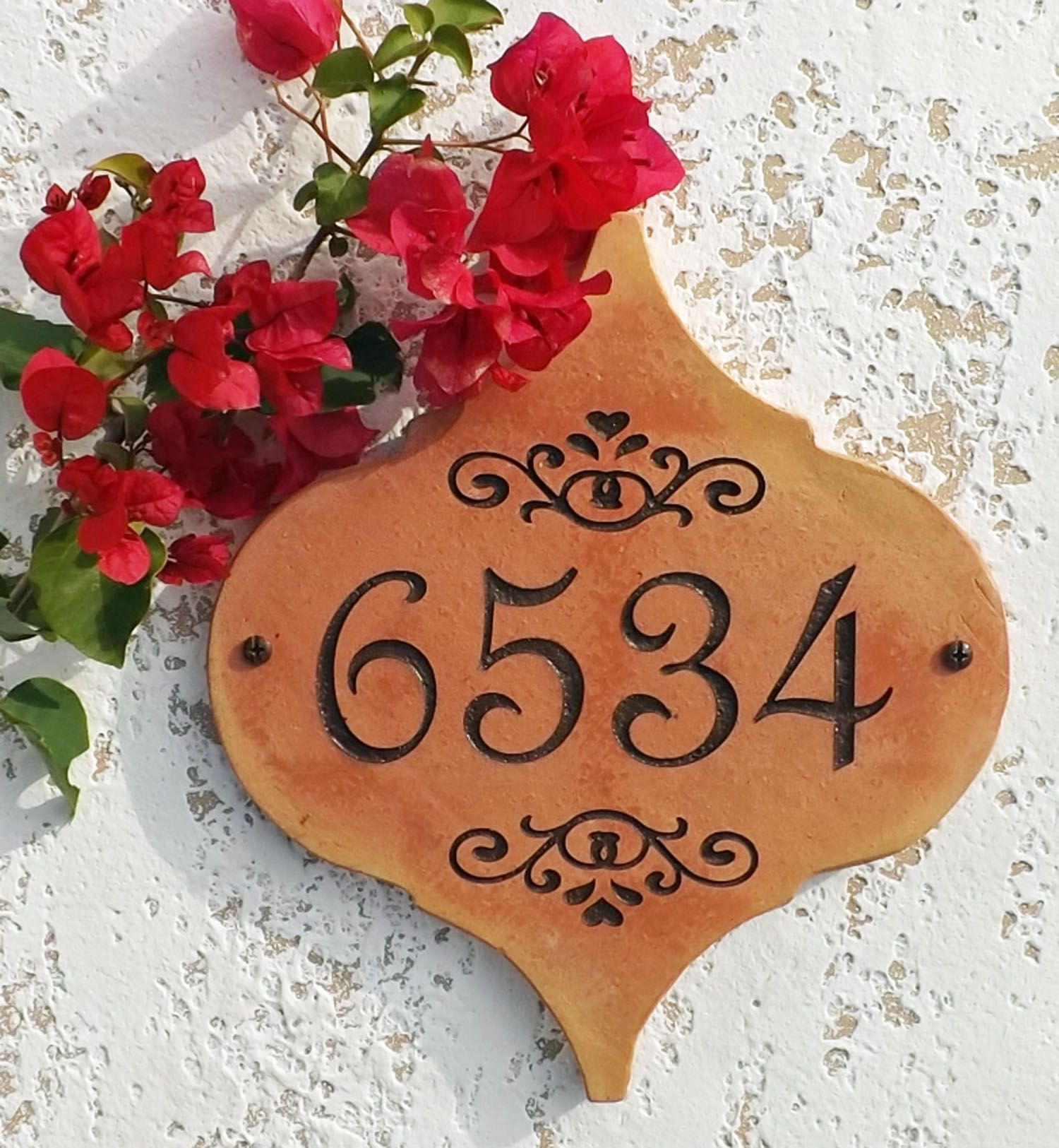 Terracotta House Numbers Spanish Mexican Tile House Number Mediterranean House Numbers Mediterranean Decor Tile House Numbers