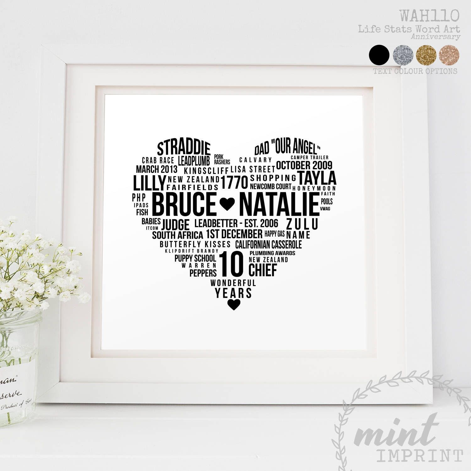 10th Anniversary Gift Printable Heart Word Art Personalised Marriage History Stats Personalized Anniversary Gifts Anniversary Gifts 10th Anniversary Gifts