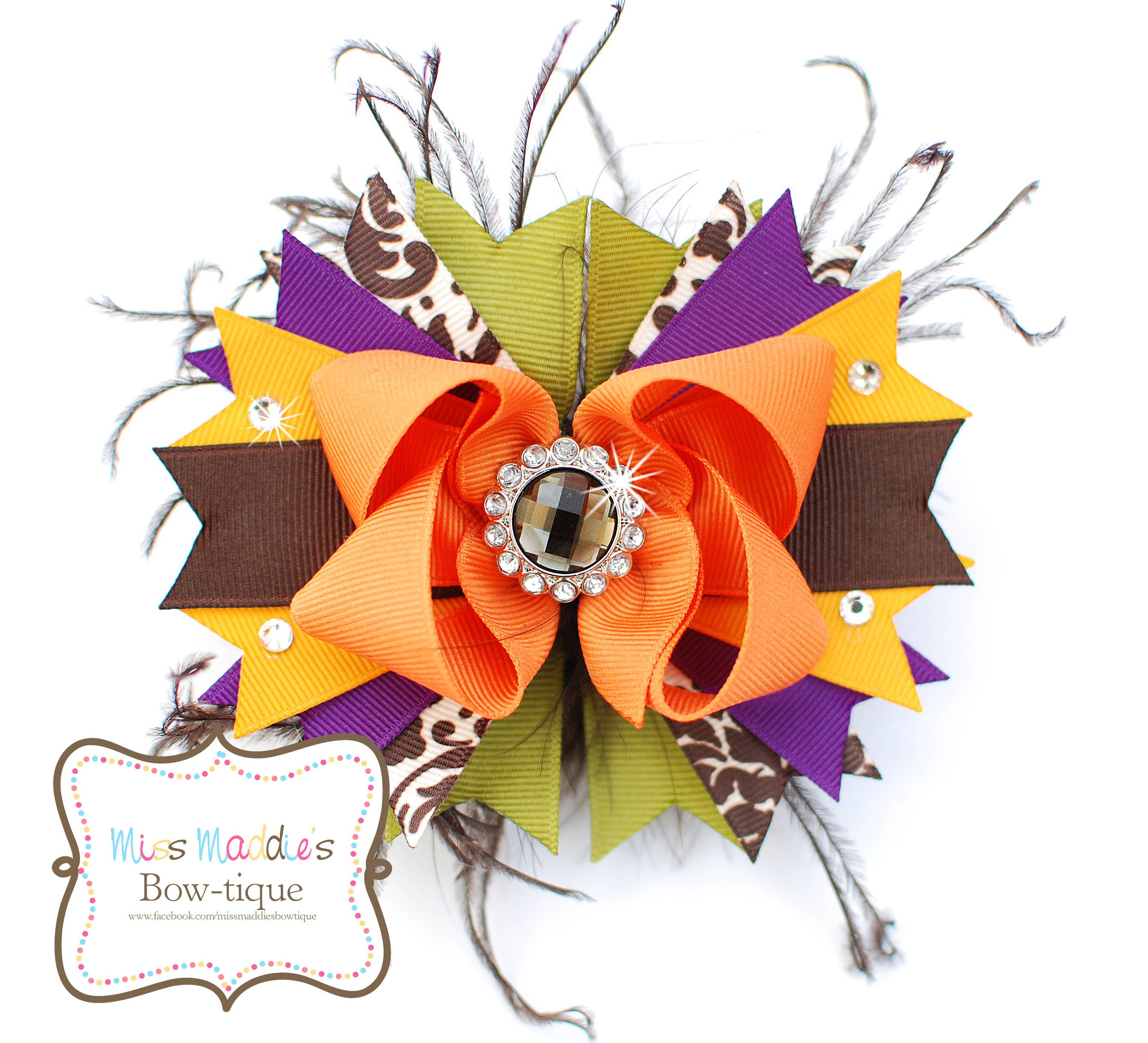 Fall hair bow with ostrich copyright miss maddieus bowtique bows