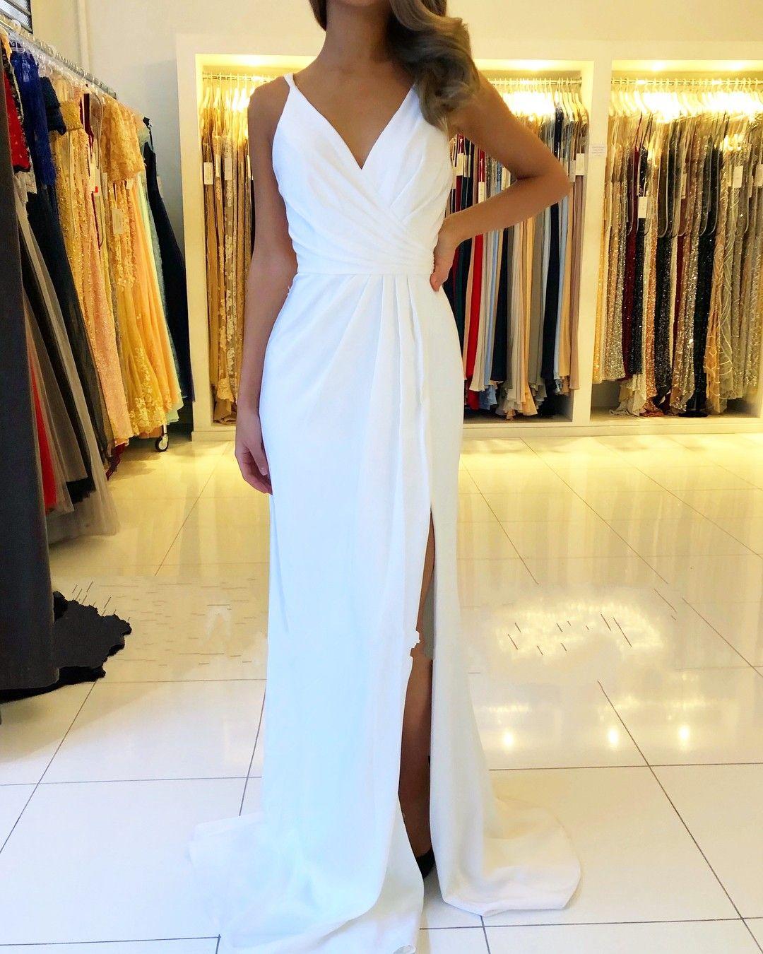 Schöne Weiße Abendkleider Lang  Chiffonkleider Schlichtes
