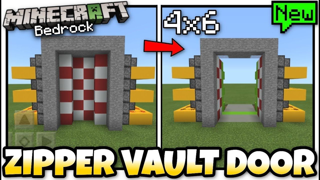 How To Make Pixel Art In Minecraft Bedrock Minecraft 4x6 Zipper Vault Door Automatic Tutorial Mcpe Xbox Bedrock Switch Https Cstu Io D643cf Vault Doors Minecraft Doors