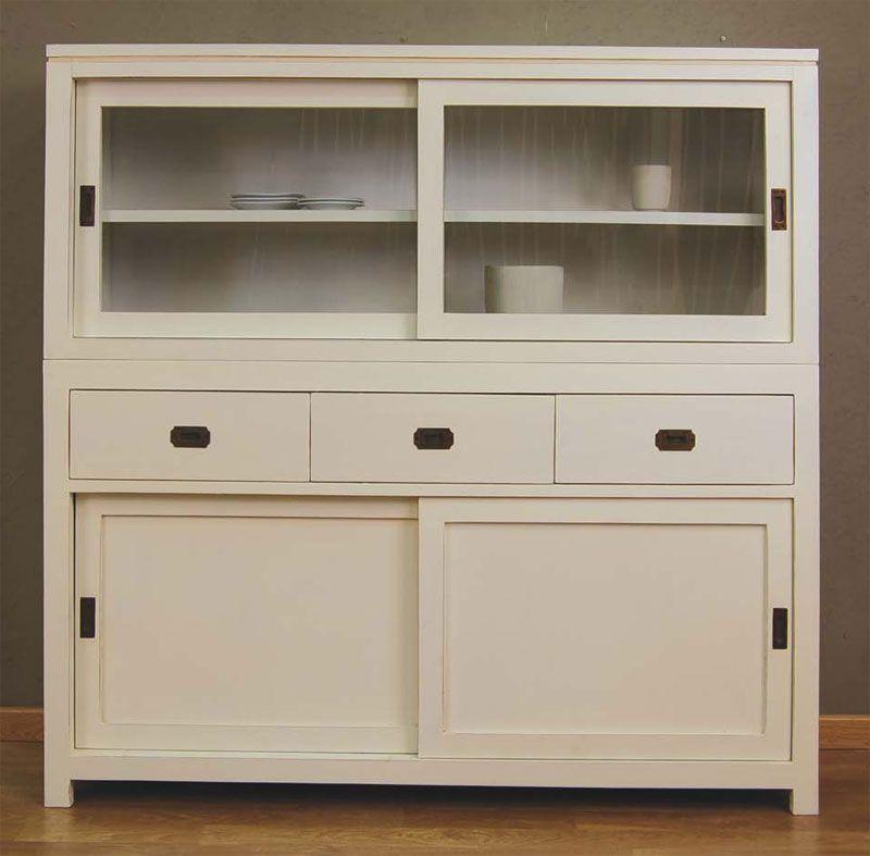 aparador vitrina blanco puertas corrededas - Aparadores De Cocina