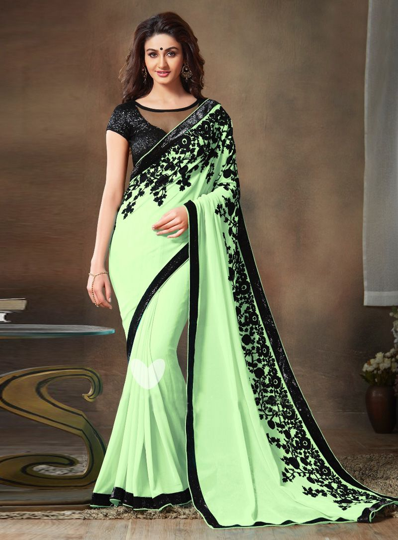 b0d1a601ff #sarees #georgette_saree #designer #fashion #indian_fashion #stylish  #fashionista #trending #latest #women_clothing ..Sea Green Georgette Party  Wear Saree ...