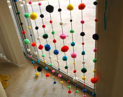 Curtains Ideas classroom curtain ideas : Pom Pom Window Covering (for a classroom window?) | Craft Ideas ...