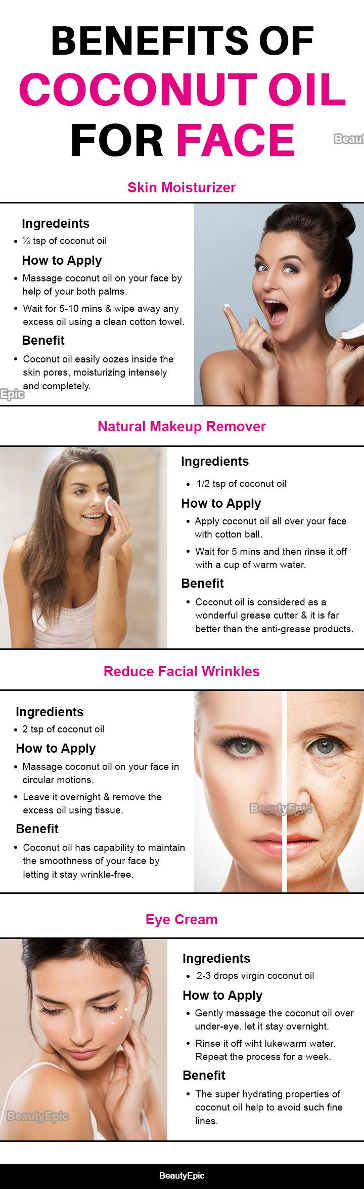 How To Use Coconut Oil For Face Benefits And Uses Coconut Oil For Face Skin Moisturizer Face Natural Makeup Remover