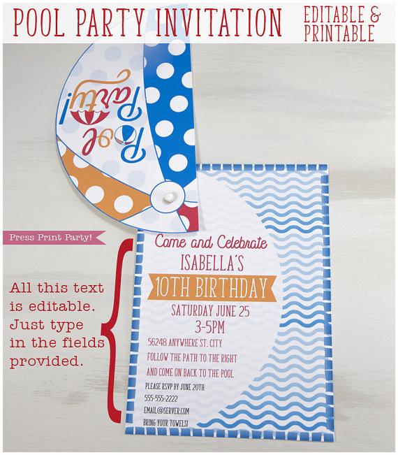pool party invitation for kids splish splash beach ball invitation