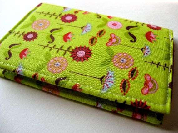 Credit Card Case, Business Card Cover - Love Birds Garden in Green - READY TO SHIP on Etsy, $15.00